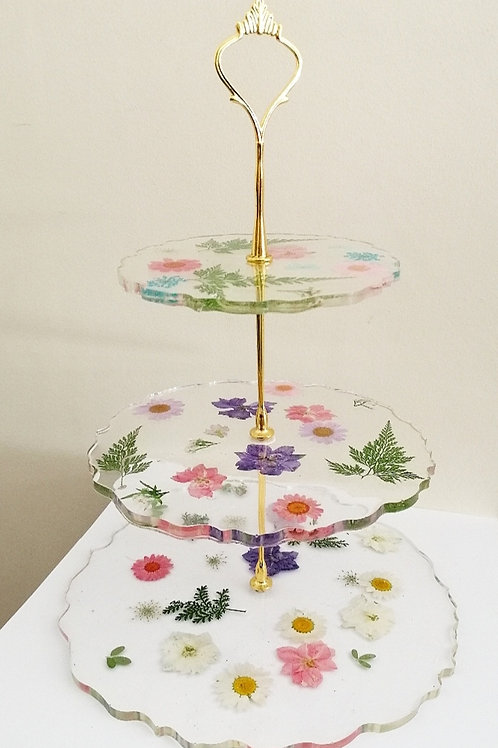 Floral cake display stand