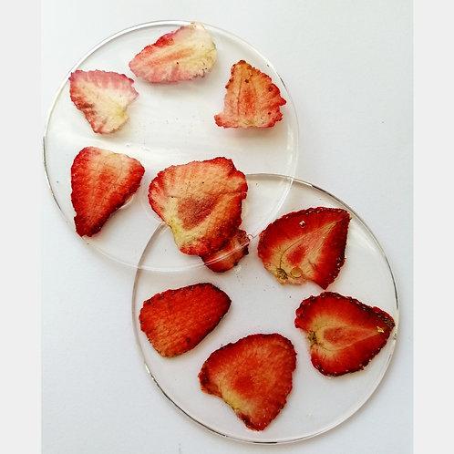 Strawberry coasters (set of 2)