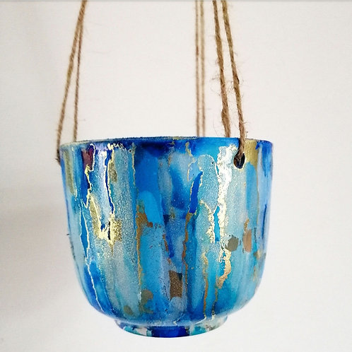 Dreamy blue and gold hanging pot