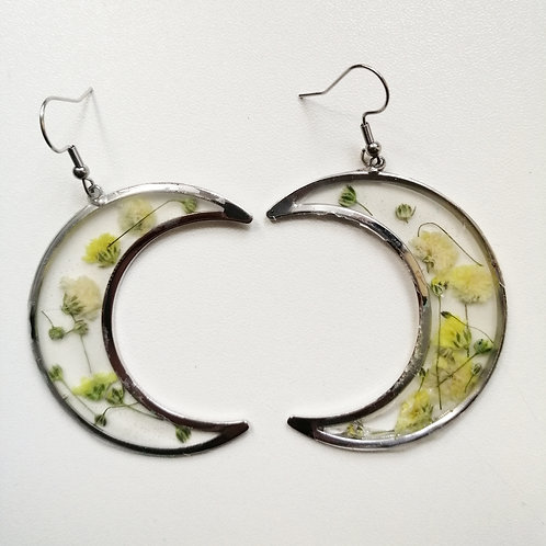 Floral Crescent moon earrings