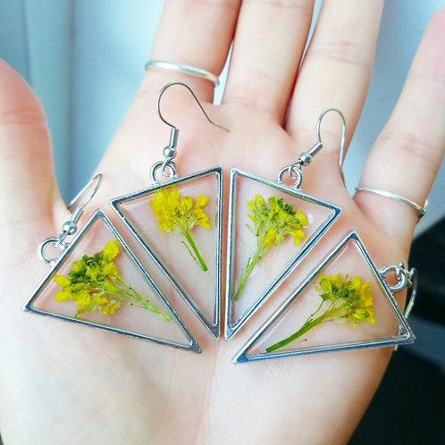 Mustard flower earrings