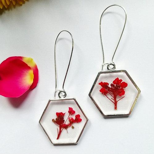 Red little flower earrings