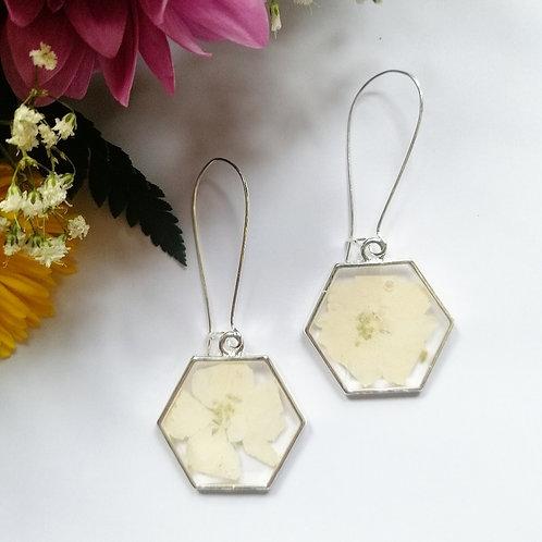 White hydrangea earrings