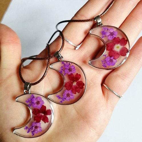 Floral moon necklaces