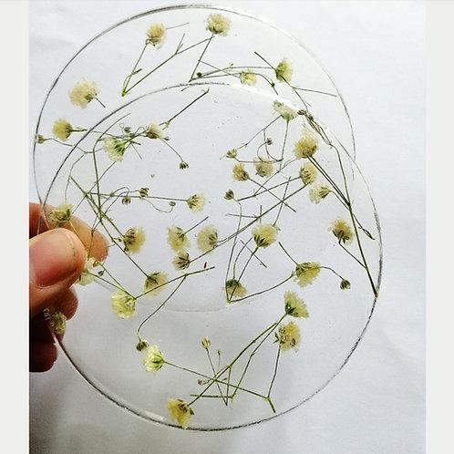 Gypsum Floral coaster  x 2