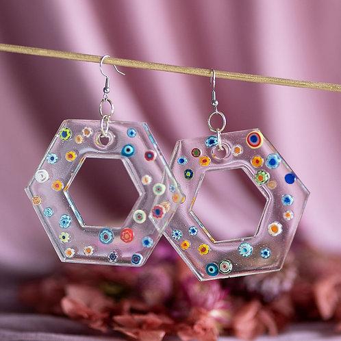 Funky hexagon earrings