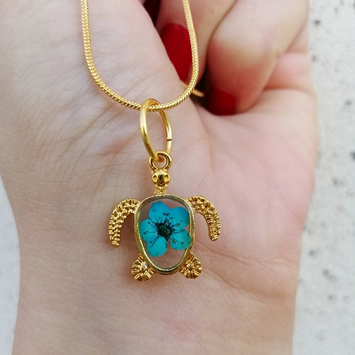 Forget me not turtle necklace