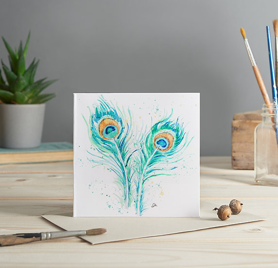 Peacock feathers illustrated greeting card