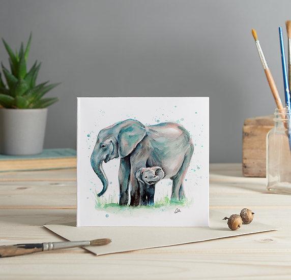 Elephants illustrated greeting card