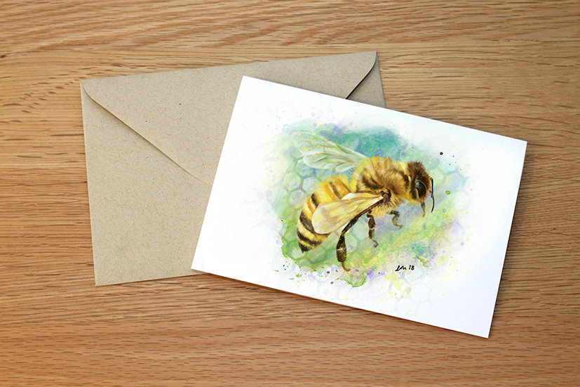 Worker Bee illustration greeting card