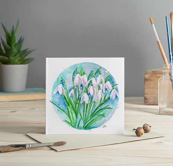 Snow drops illustrated greeting card