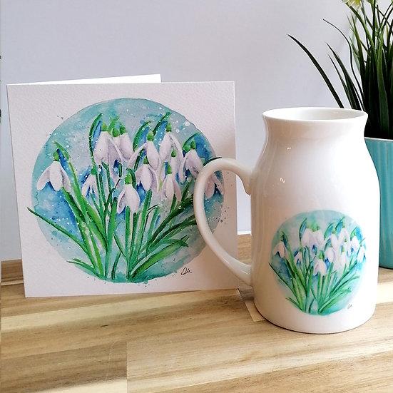 Snowdrop ceramic jug and greeting card