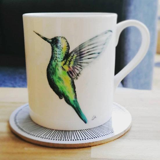 Green hummingbird mug