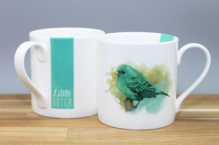 Little Green Bird bone china mug
