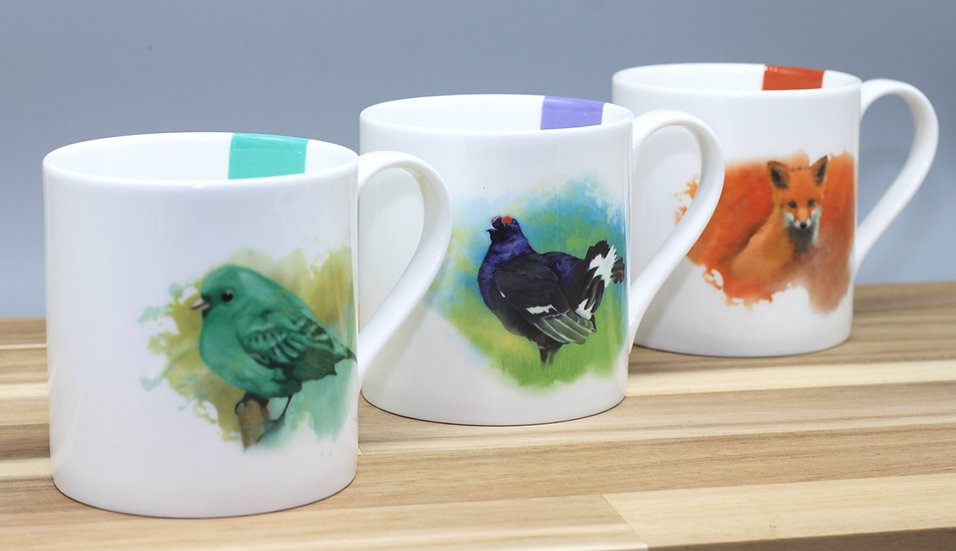 Trio of bone china mugs