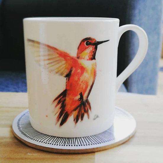 Red hummingbird mug