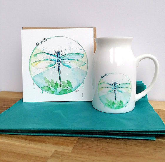 Dragonfly ceramic jug and greeting card