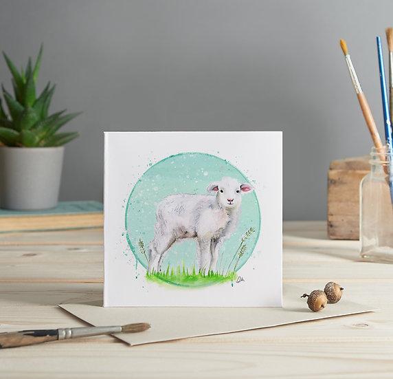 Lamb illustrated greeting card