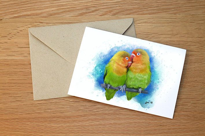 Lovebirds illustration greeting card