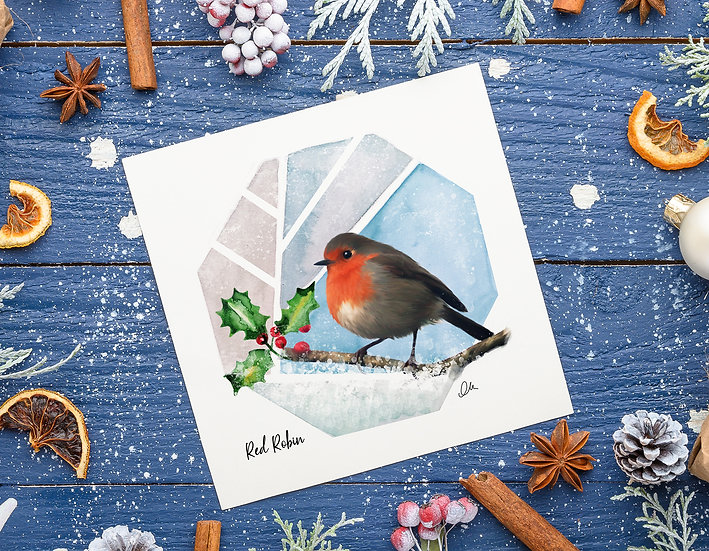 Robin with holly greeting card