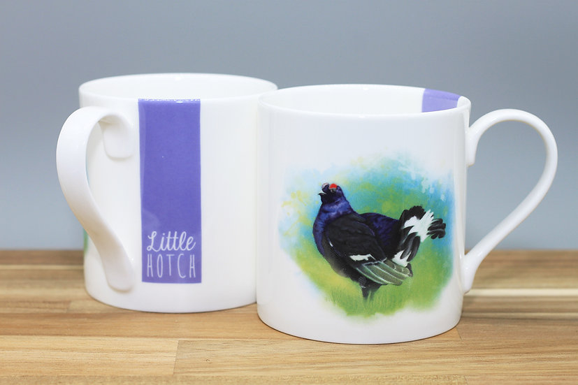 Black Grouse bone china mug