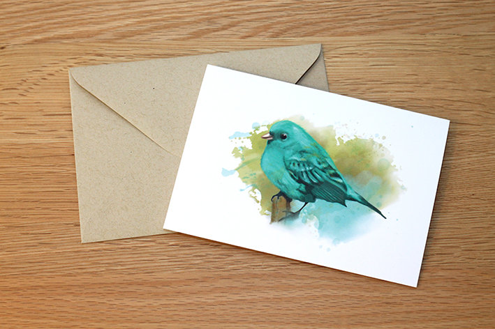 Little Green Bird illustration greeting card