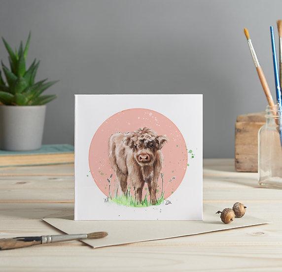 Calf illustrated greeting card