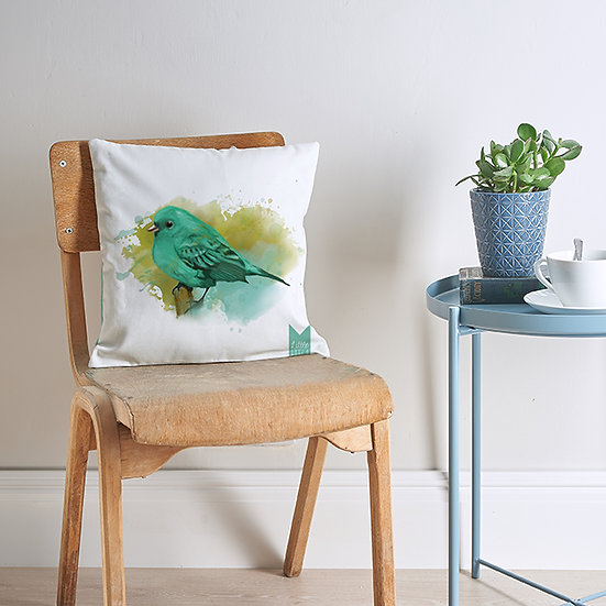 Little green bird cushion