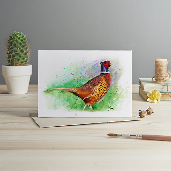 Pheasant illustration card