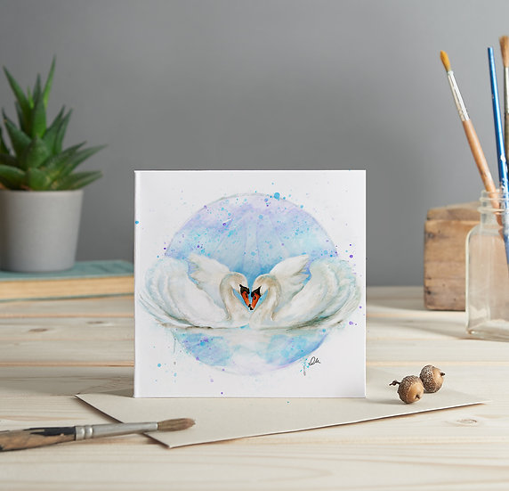 Swans illustrated greeting card