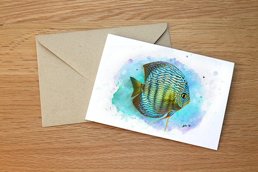 Discus fish illustration greeting card