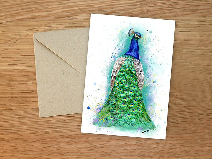 Peacock illustration greeting card