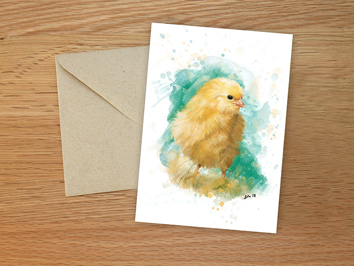Chick illustration greeting card