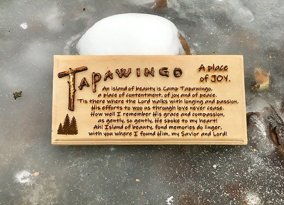 Tapawingo Woodburned Sign