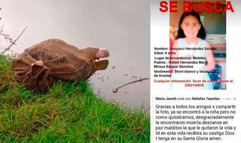 Hallan muerta en un costal a niña desaparecida en el norte de Veracruz