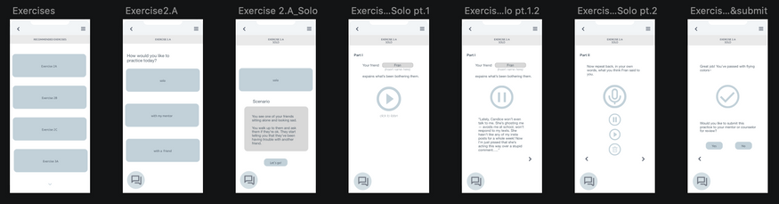 Student app wireframes