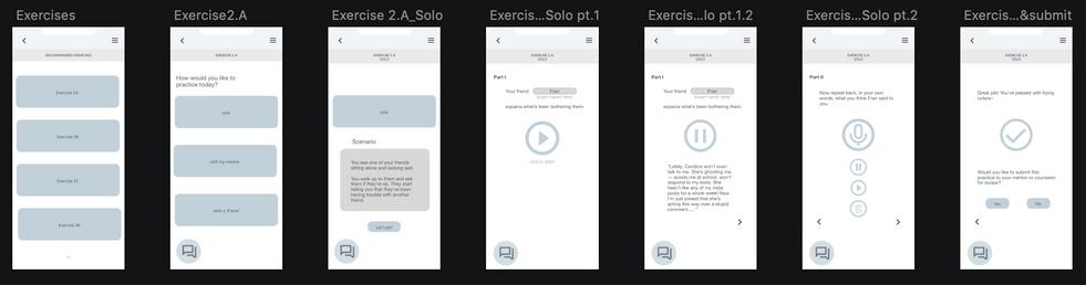 Student app wireframes