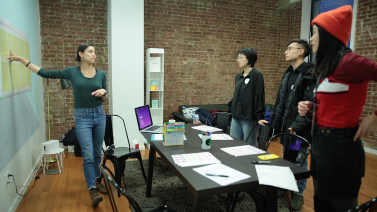 Explaining the workshop activities to participants.