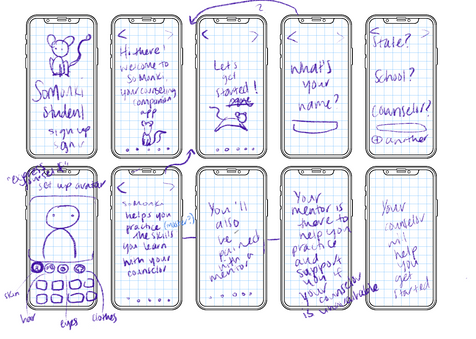 Student onboarding wireframe sketches