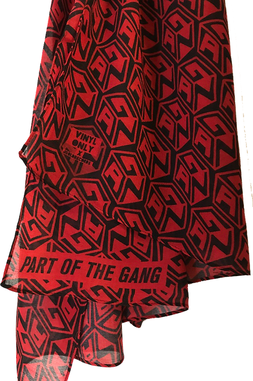 SUMMER SCARF - tINI & THE GANG - GANG CUBE PATTERN - BLACK & RED