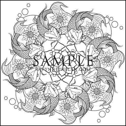 Koi Mandala Colouring Page