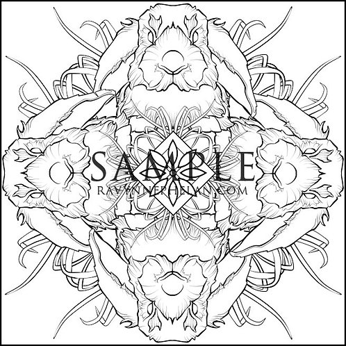 Rabbit Mandala Colouring Page