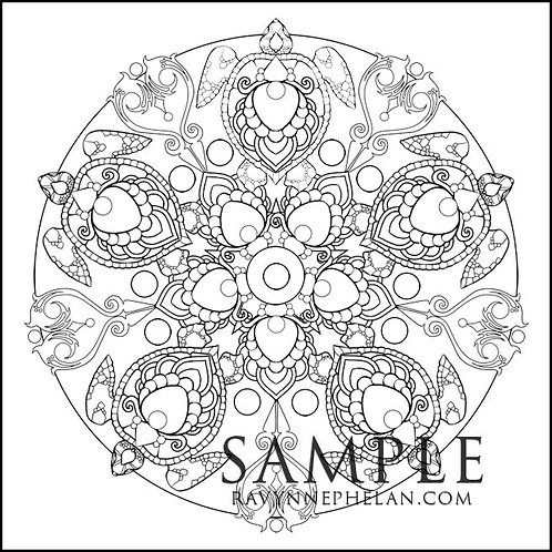 Turtle Mandala Colouring Page