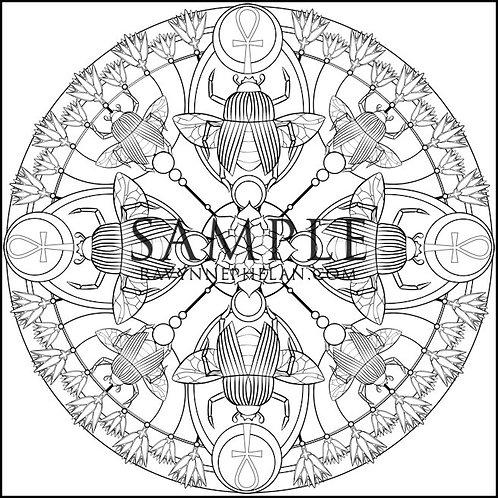 Scarab Mandala Colouring Page