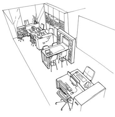 Croquis de l'open space bureaux travaux