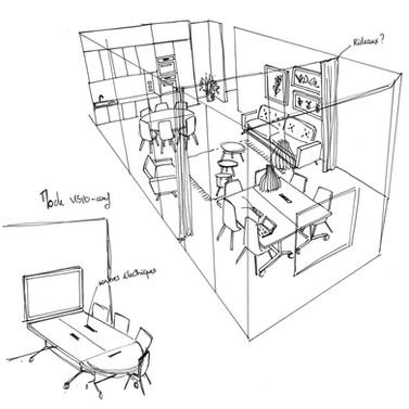 Croquis espace réunion et repos
