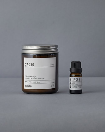 Para Meditar - Vela Sacro 250ml + Essential Oil Sacro 10ml