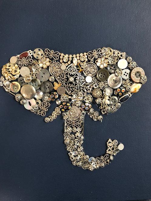 """Elephant head artwork 8x10"""" mixed media on canvas"""