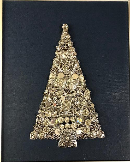 """Christmas tree 8x10"""" mixed media on canvas"""