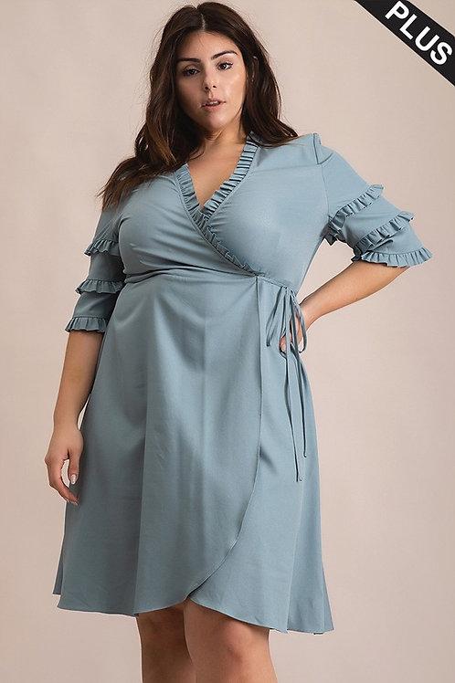 Dusty Blue Ruffle Sleeve V-Neck Dress